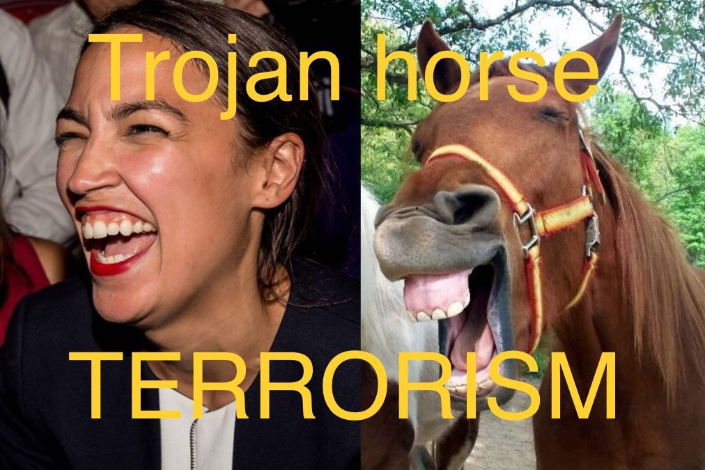 AOC is an All Out Crazy liar  and traitor inciting violent terrorism against America.