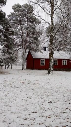 Red, white, Sweden, Cabin, Östhammar, Osthammar, daytrip, snowy cabin, snow