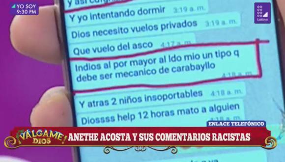 Antonio Pavón mostró conversación donde Aneth Acosta se refiere a los peruanos como nacos.