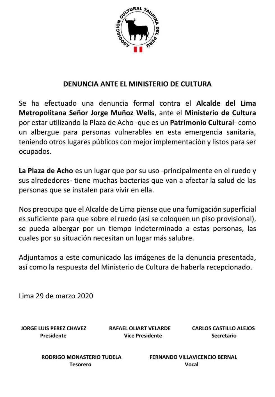 Denuncia de la Asociación Taurina del Perú