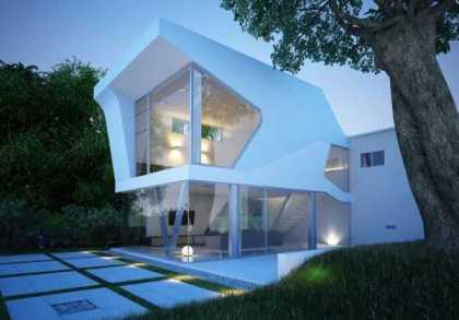 """Căn nhà được thiết kế với vóc dáng của một con tàu vũ trụ với vóc dáng rất """"ngầu"""" bởi những đường nét góc cạnh. Với những ô cửa sổ lớn bằng kính bạn sẽ có nơi hoàn hảo để ngắm sao vào ban đêm."""