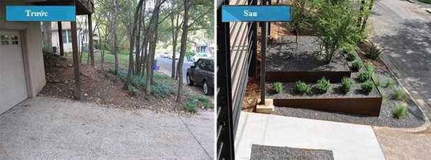 Ngay cả những cảnh quan ở trước nhà đã được thay đổi tạo nên một lề đường hấp dẫn hơn cho gia chủ. Từ một khoảng đất dốc, được thay bằng hai bậc thang có thể trồng một số loại cây trên đó.