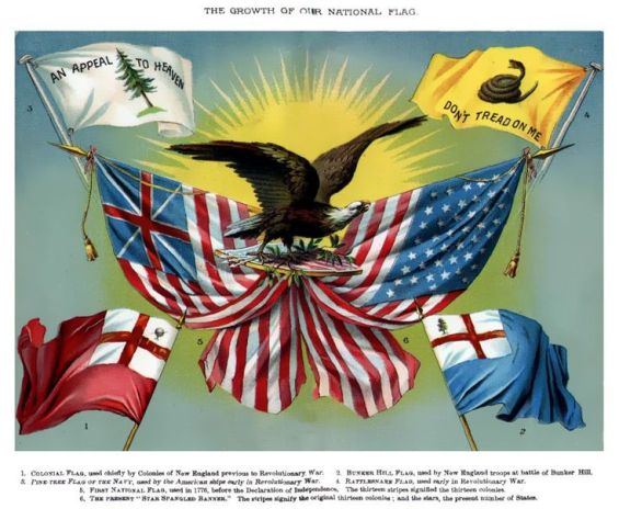 Historic US Flags From Text Book