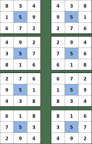 carré magique de 3 unique
