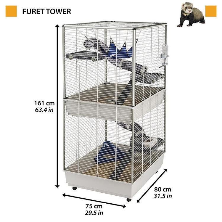 Ferplast Furet Tower ilder og rottebur 75x80x161cm