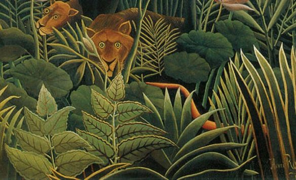 """Zooming in the Henri Rousseau painting """"The Dream"""", 1910."""