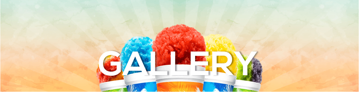 5 multi colored snow cones in tropical sno cups, just the tops against and array style background says GALLERY in white mid image
