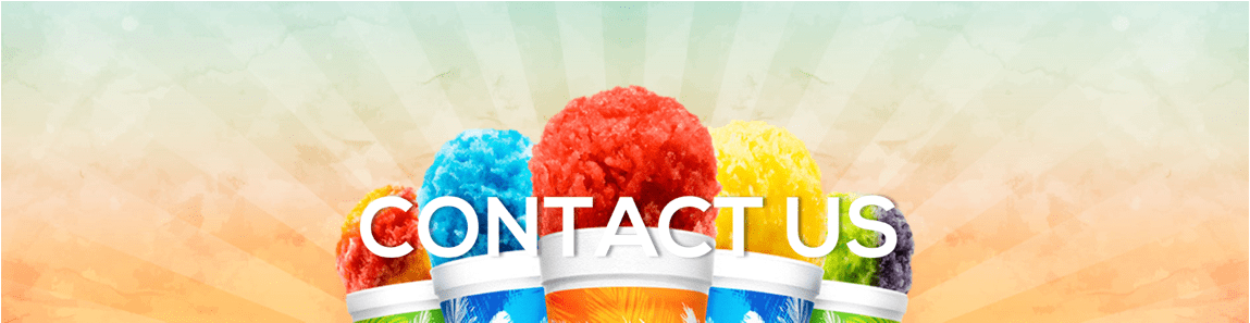 5 multi colored snow cones in tropical sno cups, just the tops against and array style background says contact us in white mid image