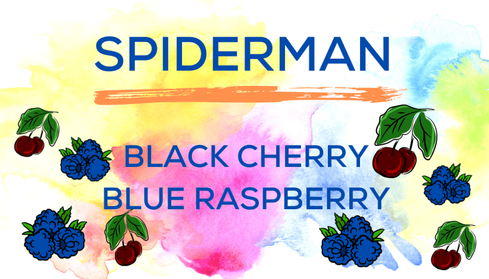 Shaved Ice Flavors-Tropical Sno Peoria-SPIDERMAN: bright black cherry, and tart blue raspberry.