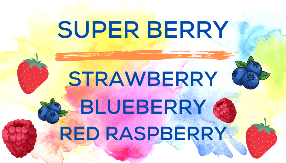 Shaved Ice Flavors-Tropical Sno Peoria-SUPER BERRY-summery strawberry, ripe red raspberry, bright blueberry