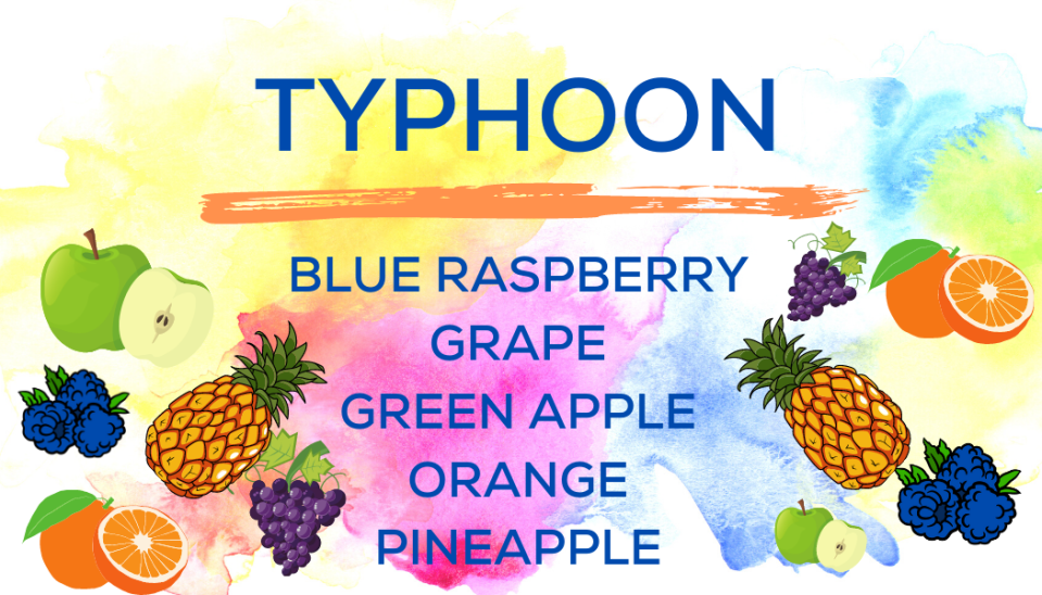 Shaved Ice Flavors-Tropical Sno Peoria-TYPHOON-tart blue raspberry, juicy grape, fresh green apple, juicy orange, fresh pineapple