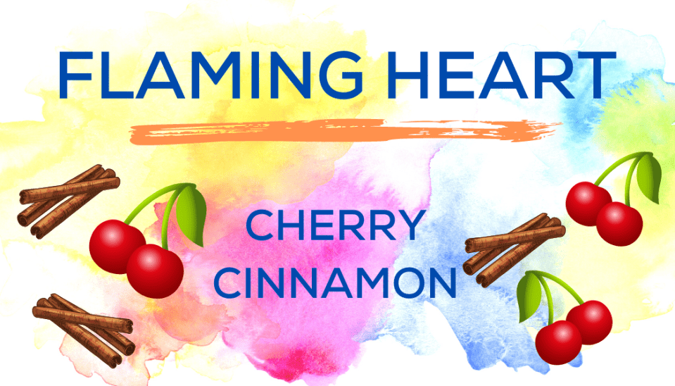 Shaved Ice Flavors-Tropical Sno Peoria-FLAMING HEART- cheerful cherry, spicy cinnamon