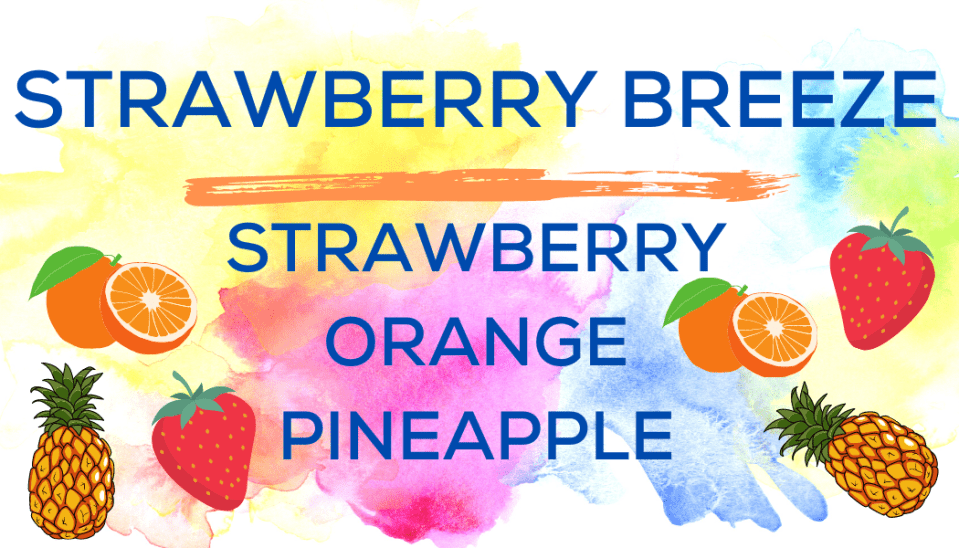 Shaved Ice Flavors-Tropical Sno Peoria-STRAWBERRY BREEZE-summery strawberry,, juicy orange, ripe pineapple
