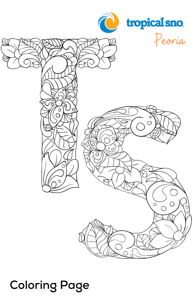 """COLORING PAGES- The letters T and S filled with """"greenery"""""""
