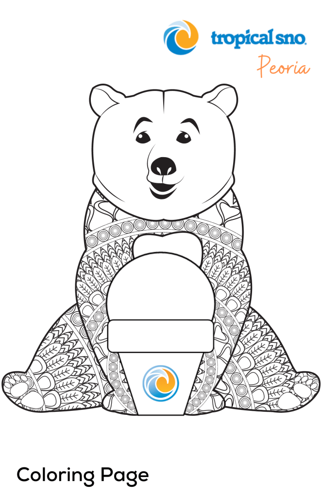COLORING PAGE- BEAR WITH INTRICATE LINEWORK AND A BLANK SNOW CONE
