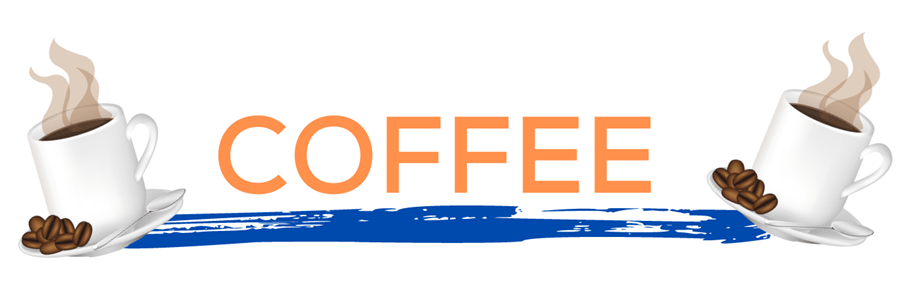 The word coffee in orange over a blue paint line with coffee cups on either side. This page displays flavor combinations made with Tropical Sno Peoria's rich coffee flavor.