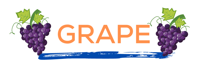 The word grape in orange over a blue paint line with grapes on either side. This page displays flavor combinations made with Tropical Sno Peoria's juicy grape flavor.