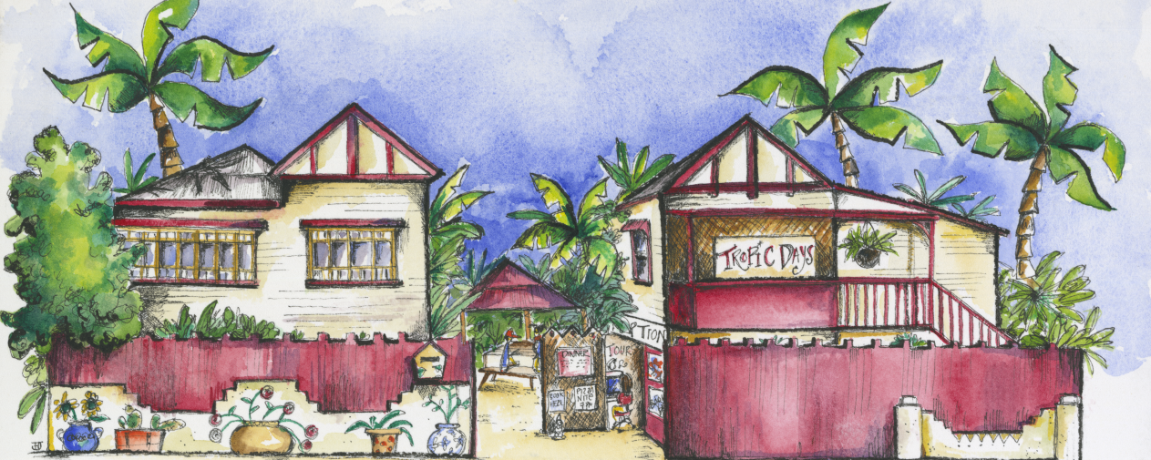 tropic days backpacker hostel drawing