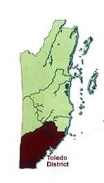 Map of Toledo District, Belize