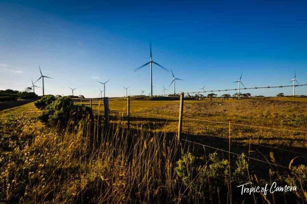 Wind turbines near Discovery Bay Coastal Park, Victoria Australia