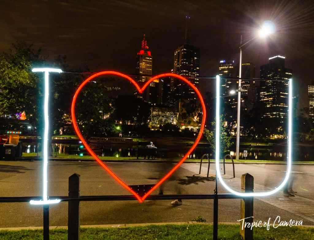 I Heart U installation at White Night, Melbourne