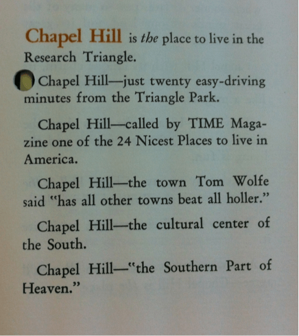 Chapel Hill is heaven