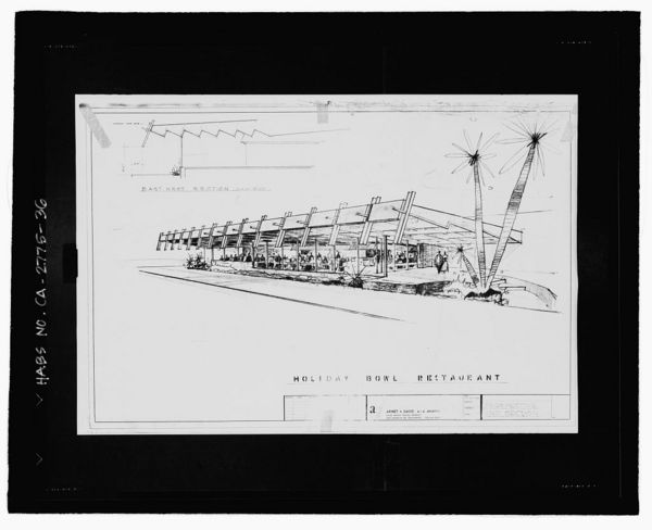 Photographic copy of reproduced sketch drawing of the Holiday Bowl coffee shop, dated 1956 | Library of Congress, Prints & Photographs Division, Historic American Buildings Survey