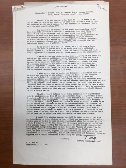 Harrigan, Confidential Memorandum to Manhattan 12, circa October/November 1972, William A. Rusher Papers, Manuscript Division, Library of Congress.