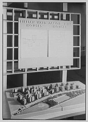 "Gottscho-Schleisner, Inc., ""New York City postwar exhibit, 500 Park Ave., New York City. Jacob Riis and Lillian Wald houses"", June 4, 1944, Gottscho-Schleisner, Inc. Collection, Prints and Photographs, Library of Congress"