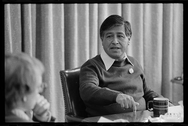 """Marion Trikosko, """"Interview with Cesar Chavez"""", April 20, 1979, Prints and Photographs Division, Library of Congress"""