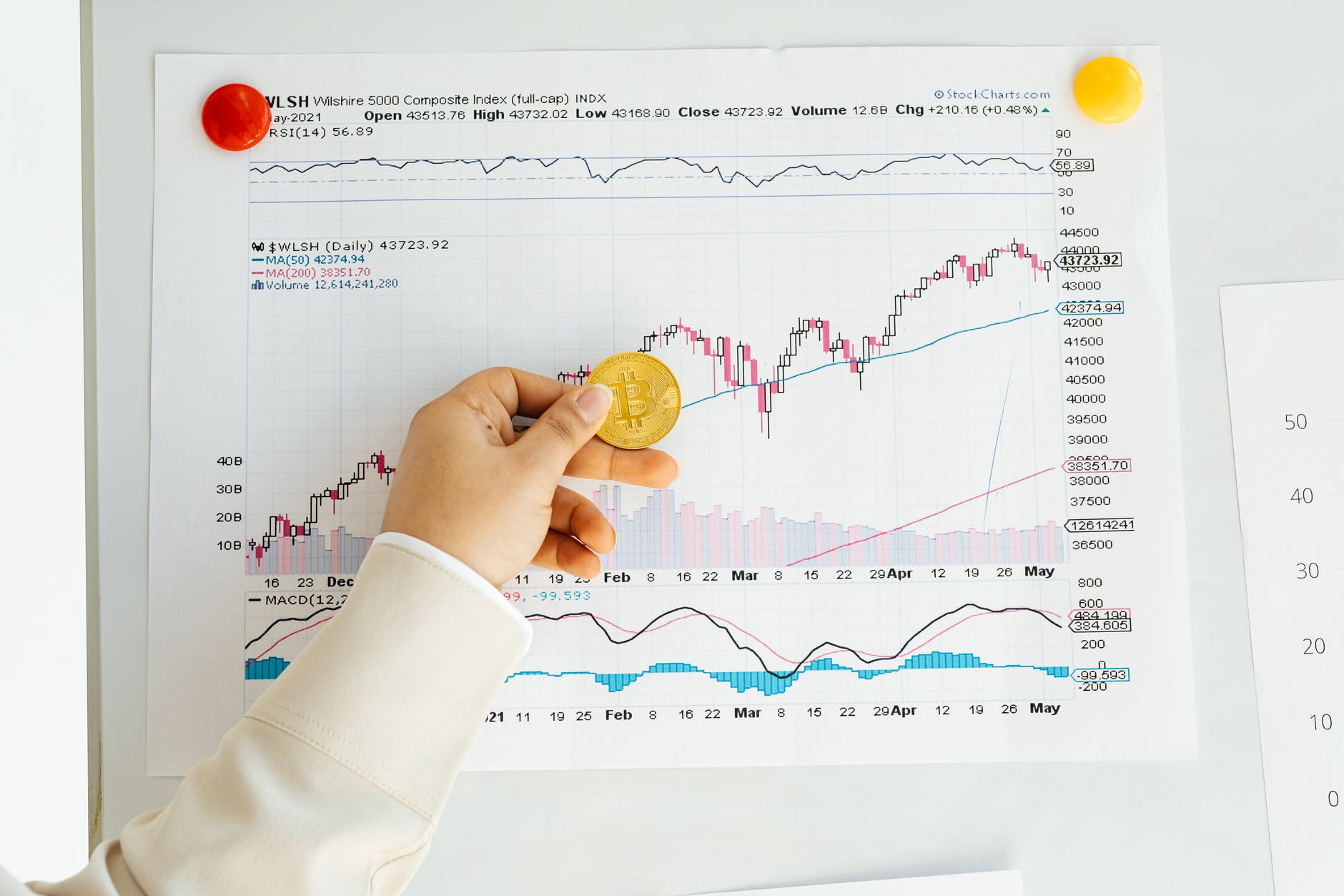 person holding a bitcoin with stock chart report on wall