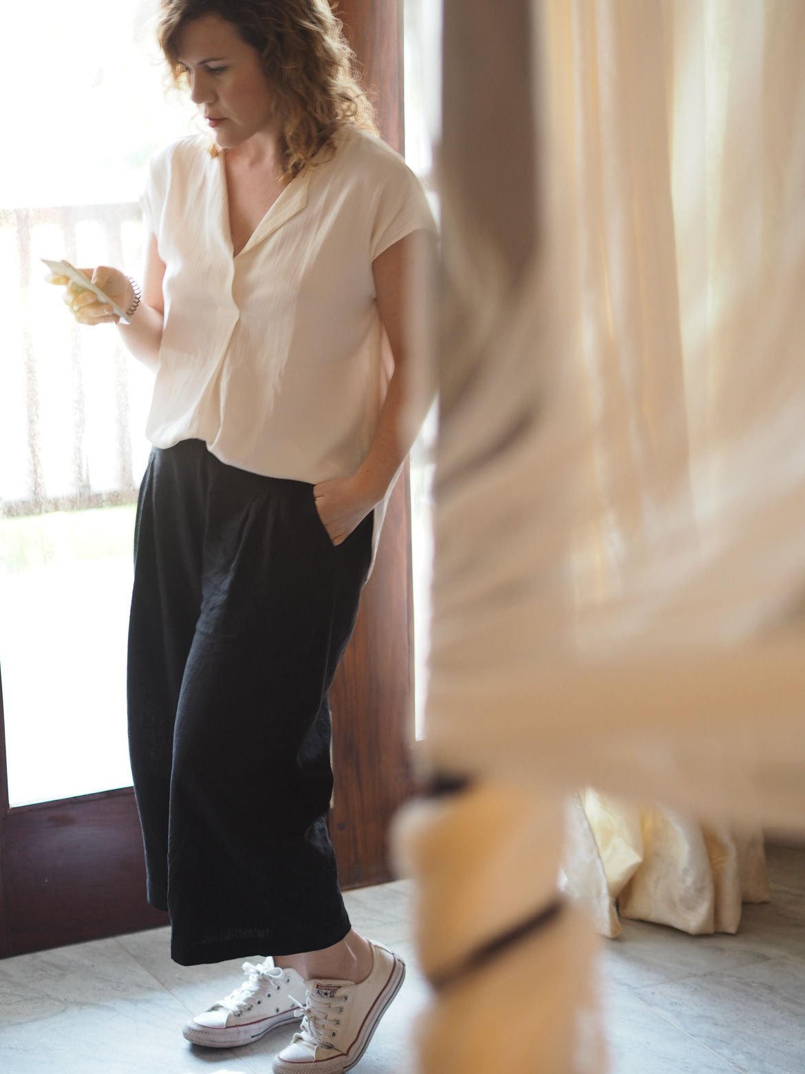 black linen trousers for work