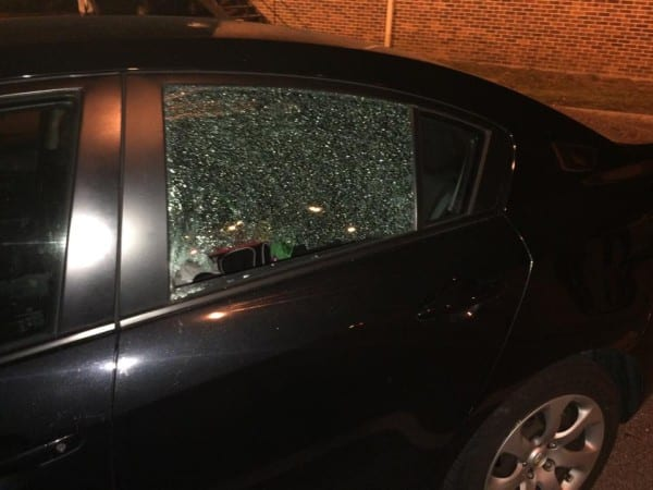 Thomas Gleaton photo Two vehicles were damaged during the shooting at Woodale Apartments Monday night