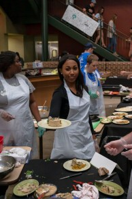 Once the food was prepared, students had to plate their food to appeal to the judges' appetites.