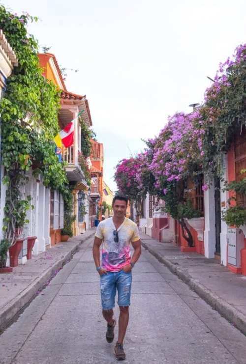 Walled city colorful street in Cartagena