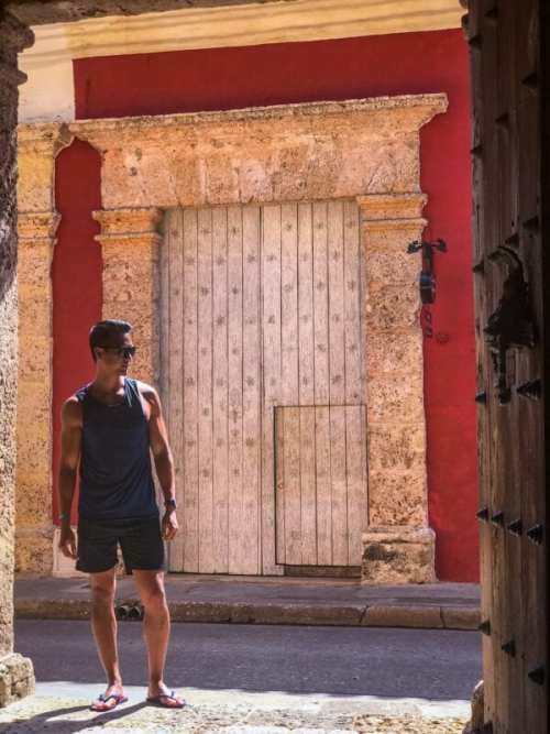 massive door in Cartagena Colombia