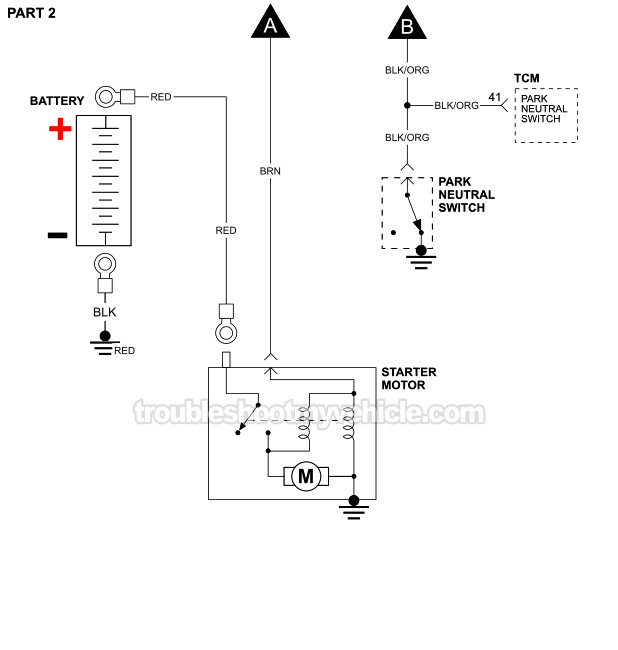 Starter Motor Circuit Wiring Diagram (1994-1995 Dodge And