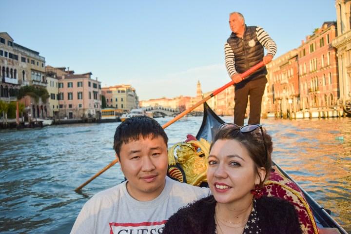 Rialto bridge and gondolas in Venice #October 2017
