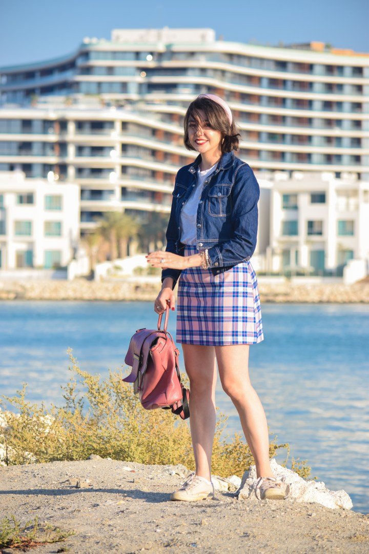 Pink and blue Check skirt 26