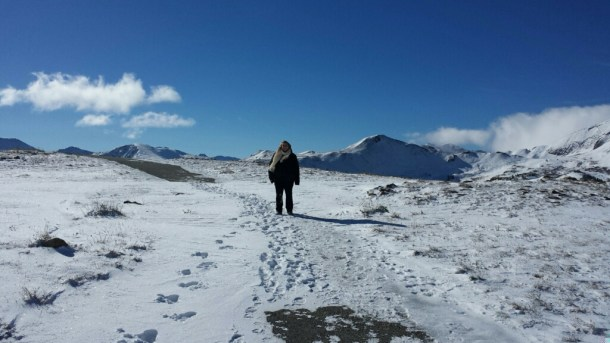 Had some pretty wet feet after this one! Notice there are not huge mountains behind me. I'm ON the mountain
