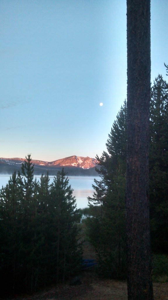 Alpenglow and Moon over Paulina Peak
