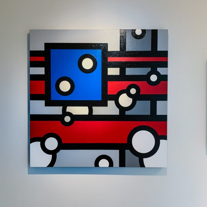 An abstract painting of shapes and colors. Horizontal red stripes are covered by white circles and a blue square with a single vertical gray stripe on the right.