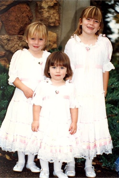 Amy, Molly and Emily Armantrout in their wedding dresses 1994