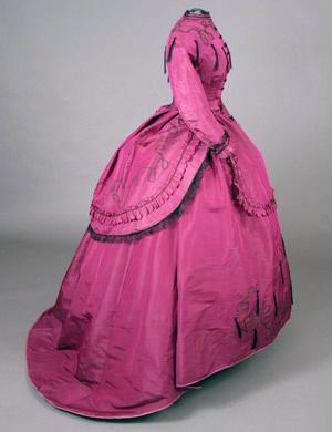 Dress Magenta slk day dress c 1869 Nellie Grant AA