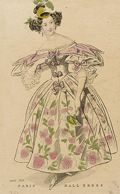 Fahion plates Paris ball gown 1833