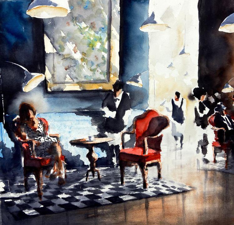 Akvarellmålning urban miljö restaurang med röda stolar
