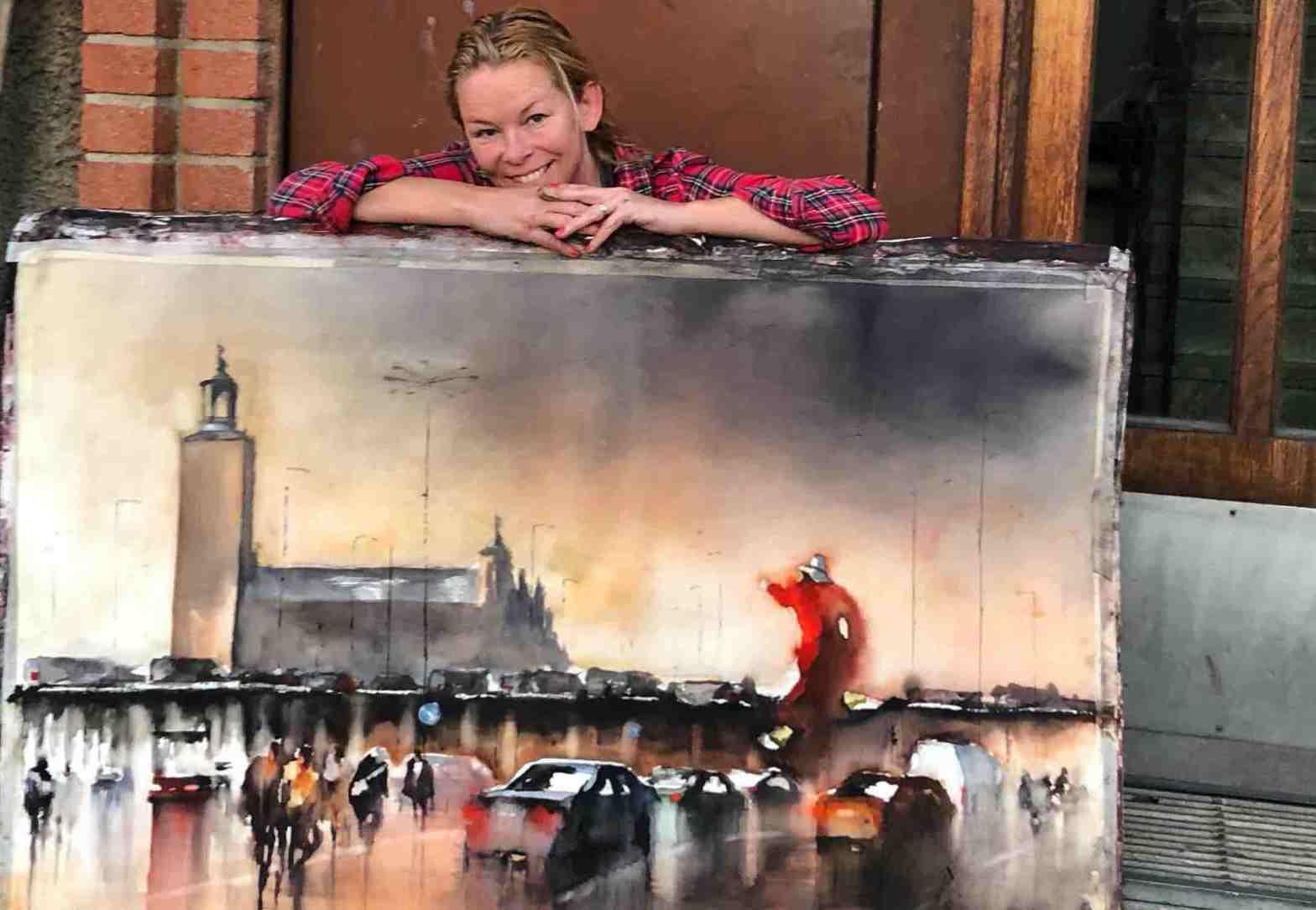 Helena Trovaj, akvarellkonstnär med en stor akvarell