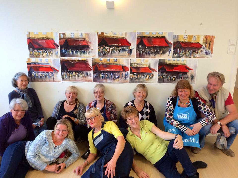 Glada deltagare på akvarellkursen