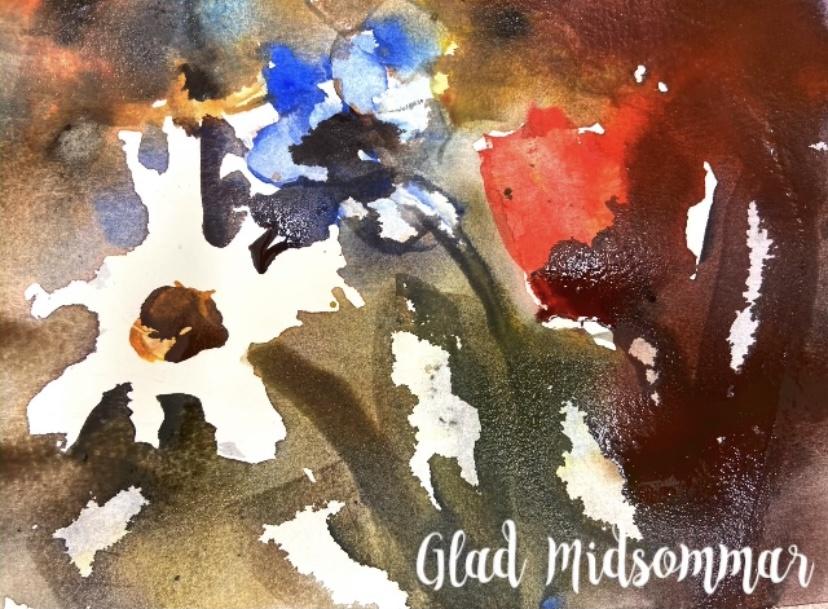 midsommarblommor i akvarell