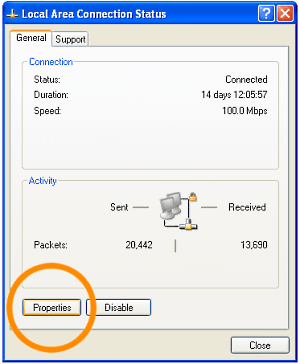XP Connection Properties